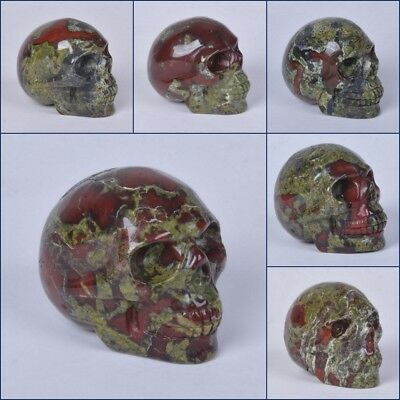 "Carved Dragon blood jasper skull statue figurine Collectible 1.9""-2"""