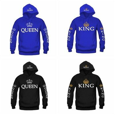 Couple Clothes Women Men Hoodie Coat King and Queen Print Hooded Sweater Jumper