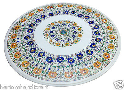 """30"""" White Marble Round Coffee Table Top Marquetry Mosaic Inlaid Patio Arts H2487"""