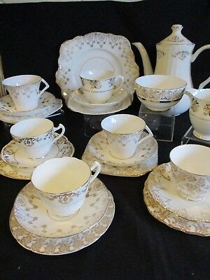 Vintage China gold & white mismatched 6 x tea cups saucers, plates  pot - lovely