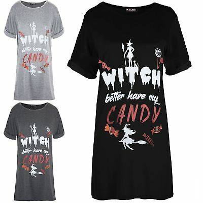 Womens Ladies Halloween Turn Up Sleeve Witch Better Have My Candy T-Shirt Dress