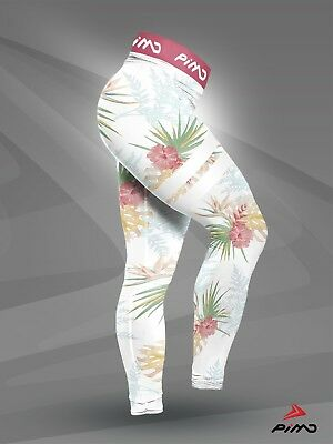 PIMD WHITE TROPICAL Sports Top Running Yoga Fitness Gym Crop Exercise Womens