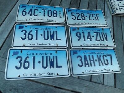 6 Expired Connecticut License Plates Blue Fade Poor-Fair Shape Free Ship