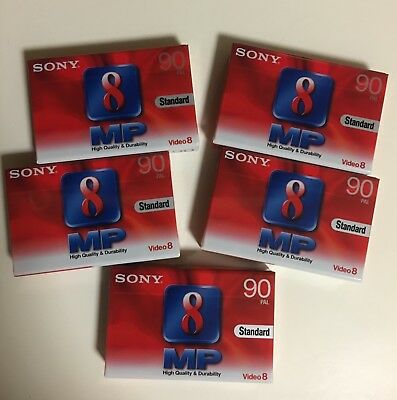 5 x SONY 8mm MP90 CAMCORDER TAPES/CASSETTES