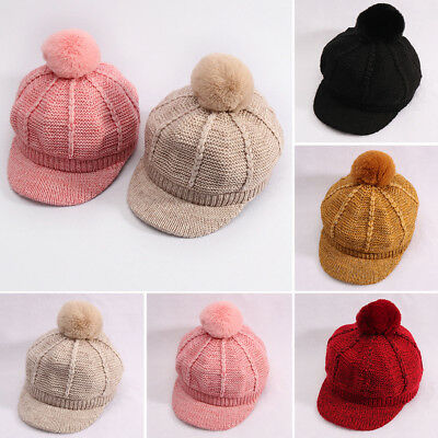 KQ_ Baby Boy Girl Kids Solid Color Pompom Knitted Cap Warm Peaked Flat Hat Delux