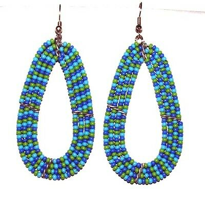"""Traditional South African Beaded Teardrop Earrings 2.25"""" FREE SHIPPING T03"""