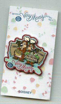 Disney Very Merry Christmas Party Chef Hats Chip & Dale Baking Cookies LE Pin