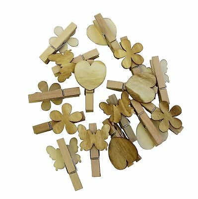 8 Piece Natural Wooden Pegs Craft Pegs Mini Butterfly Flower 2 Designs