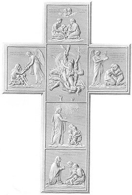 FAMILY CROSS OF LORD'S PRAYER  ~ Antique 1870 BIBLE RELIGION Art Print Engraving