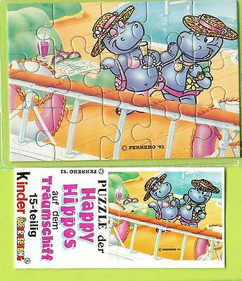 Puzzle Happy Hippos Traumschiff  1992  unten links + BPZ  -  Original