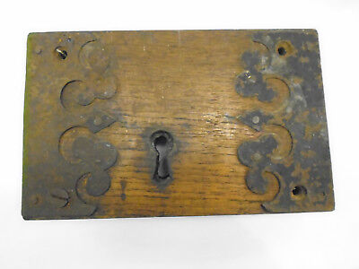 Attractive Antique Georgian Large Door Lock -Beautiful Metalwork - Wooden Frame