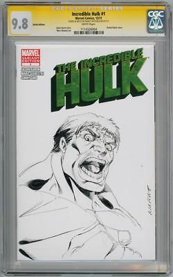 Incredible Hulk #1 Cgc 9.8 Signature Series Signed Marat Mychaels Sketch Oa