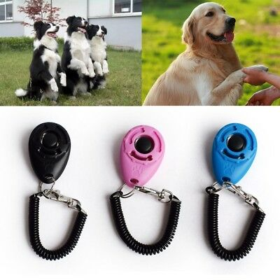 Pet Dog Cat Button Click Clicker Trainer Training Obedience 1pc Aid Wrist Strap