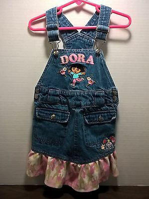 Dora the Explorer & Boots Denim Jumper Dress Blue Jean Bib Overalls Girls Size 4