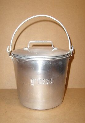 vintage GREASE Canister w/ STRAINER pail w/ handle kitchen kitsch JAPAN aluminum