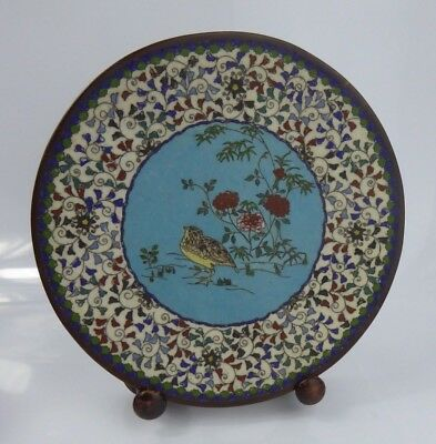 Japanese Antique Cloisonne Bird Plate Late 19th century - Meiji Period Charger