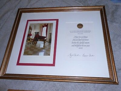 AUTHENTIC! 2002 Rare WHITE HOUSE CHRISTMAS CARD George/Laura Bush SIGNED FRAMED