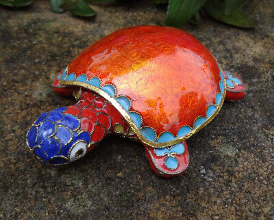Ornate, Colorful Enameled Cloisonne TURTLE Open Salt Dip, Cellar, Dish!