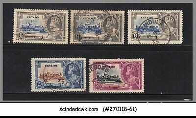 Ceylon - 1935 Kgv Silver Jubilee Stamps 5V - Used