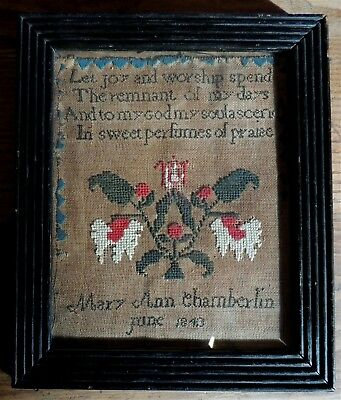 1843: A Young Girl's Sampler, Charming, Old Frame, American or Canadian