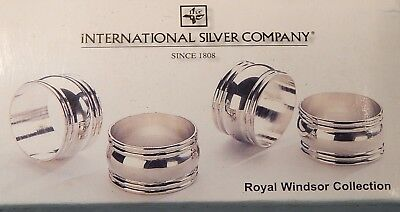 Silver Plated Napkin Rings Set of 4 By International Silver Company 2-inch