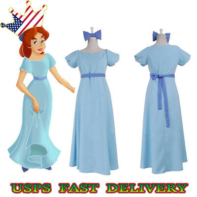 Peter Pan Wendy Darling Cosplay Costume Blue Blue Fancy Dress Blue Tie +Belt US
