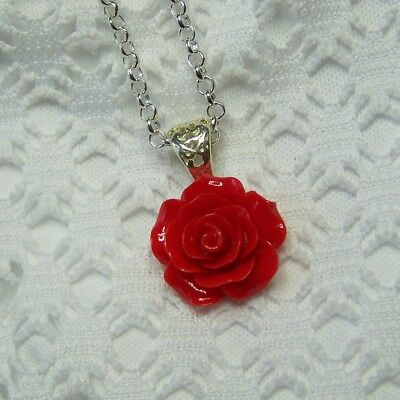 Christmas Red Rose Necklace, Victorian Red Rose Necklace, Red Floral Jewelry
