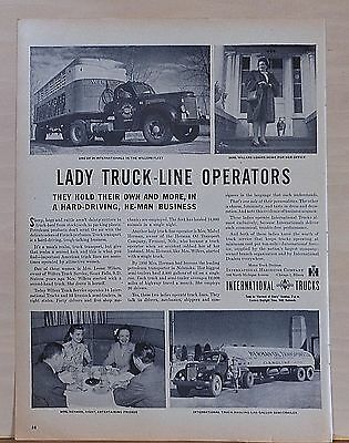 1946 magazine ad for International Trucks - Lady Truck-Line Operators Hold Own