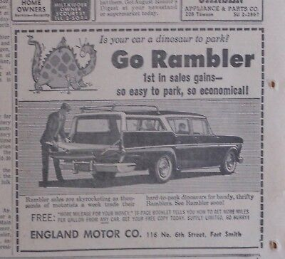 1958 newspaper ad for Rambler - Dinosaur, easy to park station wagon