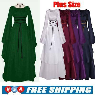 Womens Retro Vintage Renaissance Gothic Costume Medieval Gown Fun Party Dress US