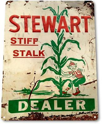 """Stewart Dealer"" Stalk Corn Metal Decor Art Farm Shop Feed Store Sign"