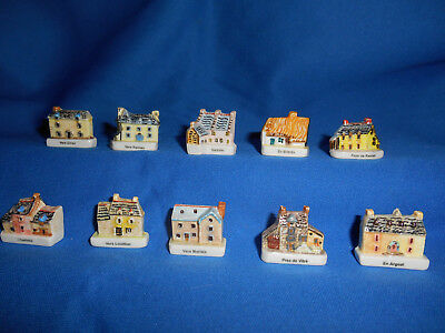 HOUSES FRENCH REGIONS Set of 10 Mini Figurines Epiphany Porcelain FEVES Figures