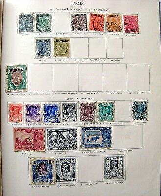 Unchecked Selection Of Early Burma Stamps Gv & Gvi.+ Overprints.  Lot#377