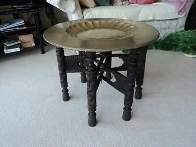 "Large antique Indian carved table with brass top 24,5"" diameter - lovely!"