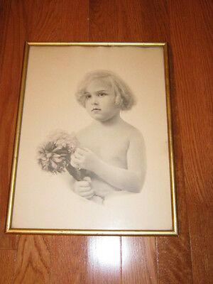 Vintage Collectible Print - Child With Flowers - Cherubic - Gold Frame