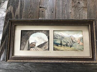 Vintage Antique Old STEAM ENGINE TRAIN Watercolor PAINTING Signed Germany Europe
