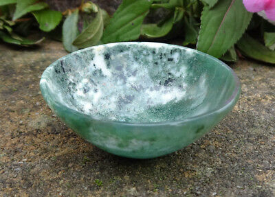Hand-Carved Semi-Precious Moss Agate Gemstone Open Salt Dip, Cellar, Dish!