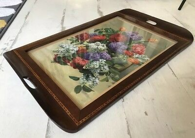 Large Antique Inlaid Serving Tray With Flower Print Behind Glass A Nikolsky