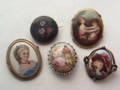Job Lot Of 5 Antique Painted Porcelain Brooches - Limoges, Silver Etc