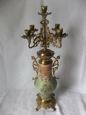 "Rare  Antique 31"" Porcelain & Brass Candelabra Ornate Floral"