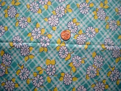 FLORAL Vtg FEEDSACK Quilt Sewing Doll Clothes Craft Cotton Fabric  Green Yellow