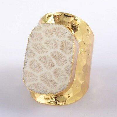 Size 7 Natural Coral Fossil Ring Gold Plated H114754