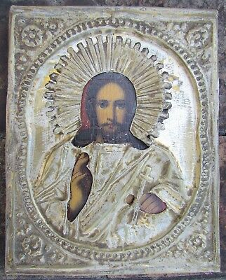 19th CENTURY RUSSIAN ANTIQUE ICON OF CHRIST PANTOCRATOR w/ METAL OKLAD