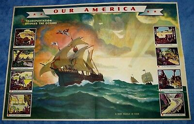 "Vintage Coca Cola "" Our America: Transportation "" Educational Poster  # 1 ~ 1942"
