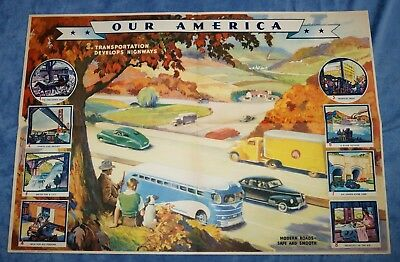 "Vintage Coca Cola "" Our America: Transportation "" Educational Poster  # 3 ~ 1942"