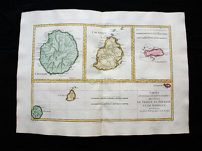 """1787 BONNE - """"rare map"""": REUNION Is. RODRIGUES Is. MAURITIUS, AFRICA, MADAGASCAR"""
