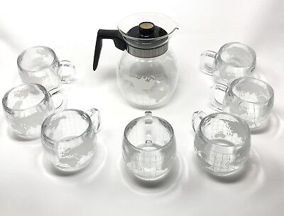 Nestle World Globe Frosted Etched Glass Vintage VTG Coffee Pot - 7 Coffee Cups