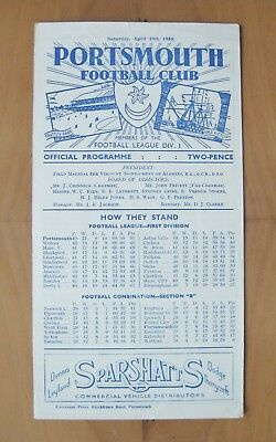 PORTSMOUTH v WEST HAM UNITED Reserves 1949/1950 Exc Condition Football Programme