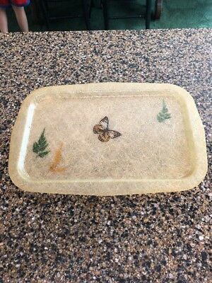 VINTAGE FIBERGLASS RETRO BUTTERFLY Serving Tray Metallic threads EUC 12 x 18""