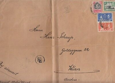 Stamp Uganda Kenya Tanzania on 1937 cover to Austria Greek currency mark scarce